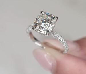 Details About Certified2 5 Ct Cushion Cut Moissanite Solitaire Sterling Silver Engagement Ring