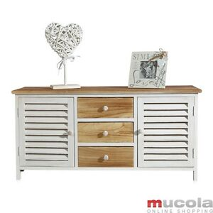 lowboard mit lamellent ren im shabby flurschrank kommode schrank regal holz ebay. Black Bedroom Furniture Sets. Home Design Ideas