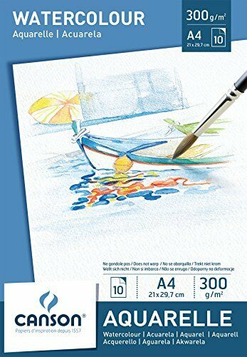 Canson A4 Watercolour pad including 10 sheets of white cold pressed watercolour
