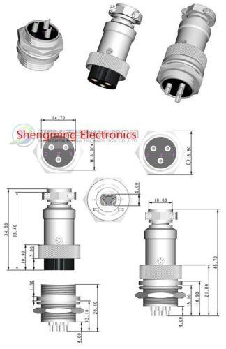 10 Set Aviation Plug GX16-7 Male /& Female Panel Metal Connecteur argent 16 mm 7pin