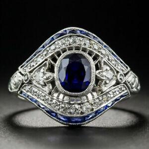 VINTAGE-925-argent-blanc-topaz-sapphire-Engagement-Anneau-Mariage-en-gros-6-10