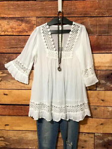 Womens-Size-M-Tunic-Top-White-Lace-Lightweight-Flare-Sleeves-Flowing-Cotton