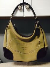 PRADA Tan and Brown Canvas and Leather Shoulder Bag