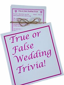 TRUE OR FALSE ? THE WEDDING EDITION! FUN QUIZ HEN NIGHT/DO OR WEDDING TABLE GAME   eBay