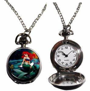 Disney-The-Little-Mermaid-Ariel-Character-Pendant-Pocket-Watch