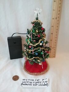 "Dollhouse Miniature 7"" Christmas Tree Set(working lights ..."