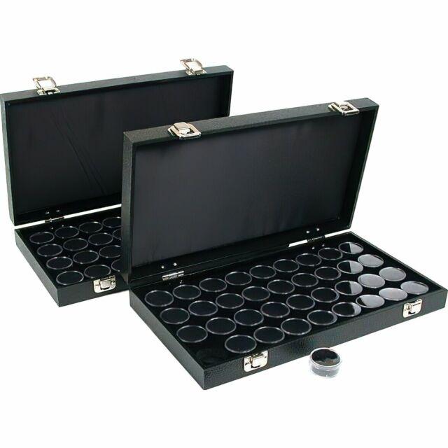 36 Gem Jars Black Display Tray GEMSTONE Travel Case for sale online