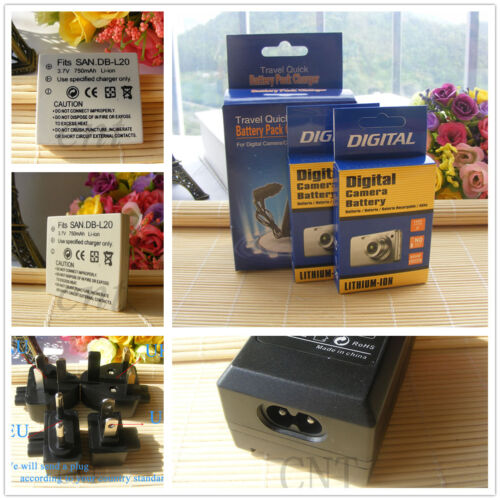 DB-L20 Batería//Cargador para Sanyo VPC-CG9 VPC-E1 VPC-E2 VPC-E6 VPC-E7 VPC-S7