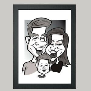 3 Person Digital Caricature From Photo - Monochrome - Digital File (JPEG)