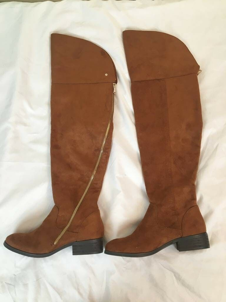 Report Women's Gwyneth Riding Boot Suede, Size 8, height 23 inch, Brown