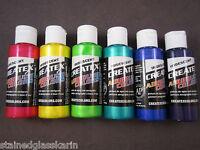 Createx Airbrush Paint Lot Of 6 Iridescent Color Set 2 Oz Water Base Paints