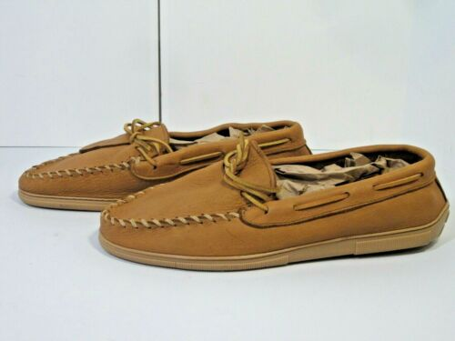 Minnetonka Mens Moccasin Shoes 12 Brown Moose Leat