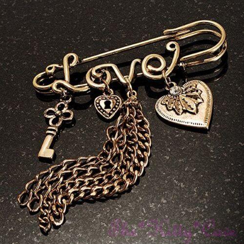 Safety Pin Brooch Vintage Burnt Gold Heart Key Lock Love Charms Tassels Kilt