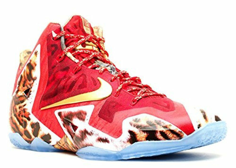 NIKE Mens Lebron XI Premium Challenge Red Metallic gold-Ic Synthetic Size