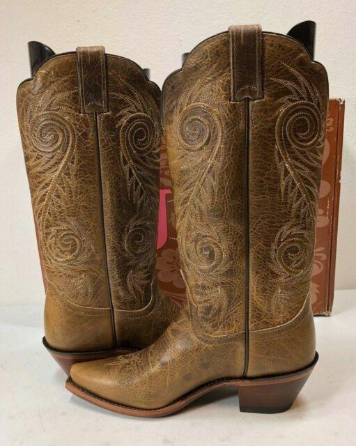 26e29822d54 Justin Women's Classic Western Boots Narrow Square Toe Tan Damiana Size 7.5  B