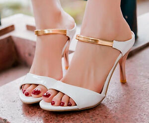Sandali ciabattine eleganti donna colore bianco e oro tacco 8 cm  cod 8197