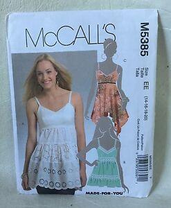 McCall's sewing pattern M5385 Misses size EE 14 16 18 20 misses Top