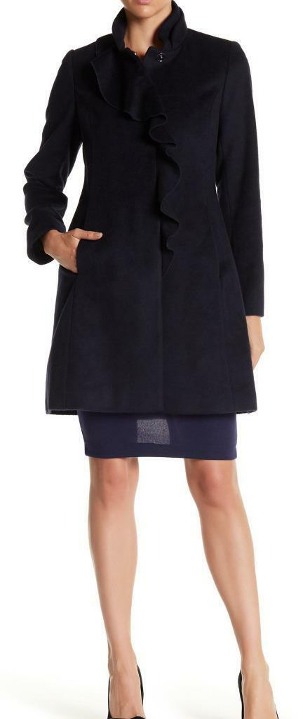 New With Tag -  DKNY Ruffle Navy Wool Blend Walker Coat Size 14
