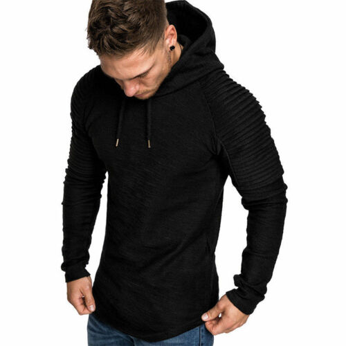 New Mens Slim Fit Hooded Hoddie Long Sleeve Muscle Tops Sport Gym Shirts T-shirt