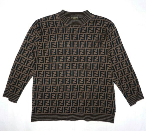 FENDI sweater brown black wool women ladies jumper