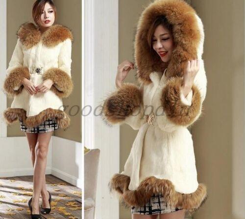 Jacket Winter Belt Womens Fashion Warm Parka Hooded Pelscoat Overcoat Faux Cloak qOqvwx7