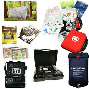 12 pc Survival Kit Emergency Camping Gear Butane Stove Heater Tent Flashlight