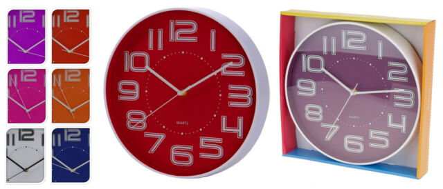 Large 30cm Contemporary Wall Clock Kitchen Clock Choice of 6 Modern Dial Colours