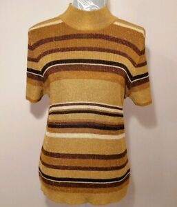 Vintage-St-Michael-Women-039-s-M-amp-S-Gold-Sparkly-Short-Sleeve-Lurex-Jumper-UK-18