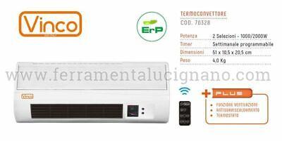 STUFA ELETTRICA TERMOVENTILATORE TERMOCONVETTORE A PARETE 2000W VINCO 70328