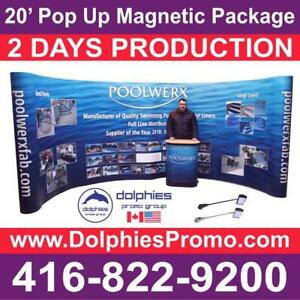 20 Pop Up Booth Display Trade Show Exhibit PACKAGE + Full GRAPHICS + 2 Podiums + 4 Lights - COMPLETE Exhibit EXPO Set Toronto (GTA) Preview