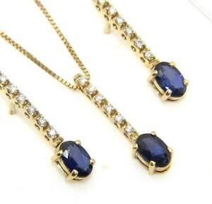 Damen-18-Karat-Goldkette-Anhaenger-und-Ohrringe-Set-mit-Saphiren-Diamanten