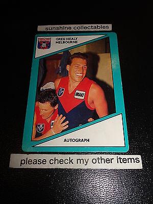 1988 VFL SCANLENS CARD NO.50 GREG HEALY MELBOURNE VERY GOOD