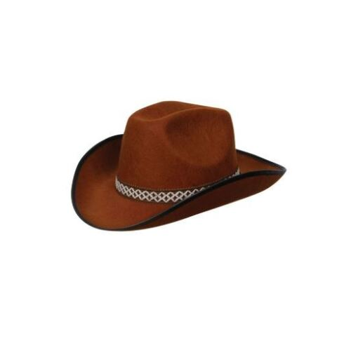 NEW Black Or Brown Cowboy Hat W//Decorative Band Wicked Fancy Dress Accessories