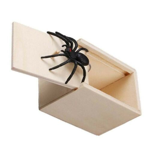 Funny Wooden Scare Box Spider Case For Halloween Xmas Surprised Scary Toys