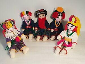 Birmanie-lot-de-5-poupees-tissu-et-laine-art-folklorique