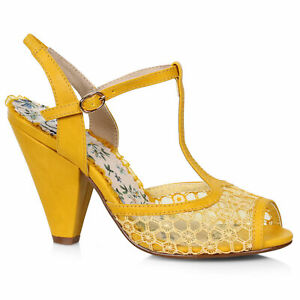 Bettie Page BP403-BROOKLYN Yellow 4 inch T-Strap Peep Toe Shoe With Lace