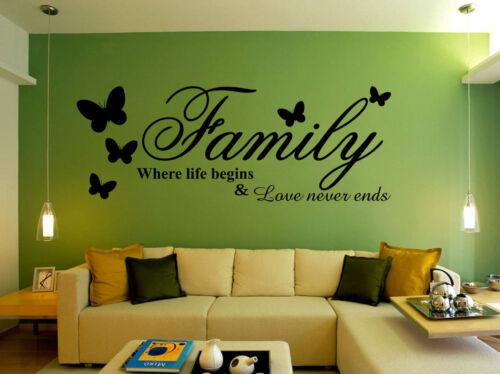 Mano Tallado Familia donde comienza la vida Mariposa sala de arte de pared calcomanía del Reino Unido rui130