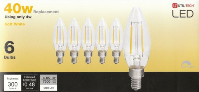 Utilitech Led 6 Pack 40w 4w B10c Soft White 2700k 300 Lumens Dimmable For Sale Online Ebay