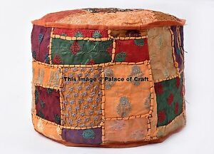 Fine Details About Indian Patchwork Embroidered Round Indian Pouf Ottoman Footstool Poufs Handmade Unemploymentrelief Wooden Chair Designs For Living Room Unemploymentrelieforg