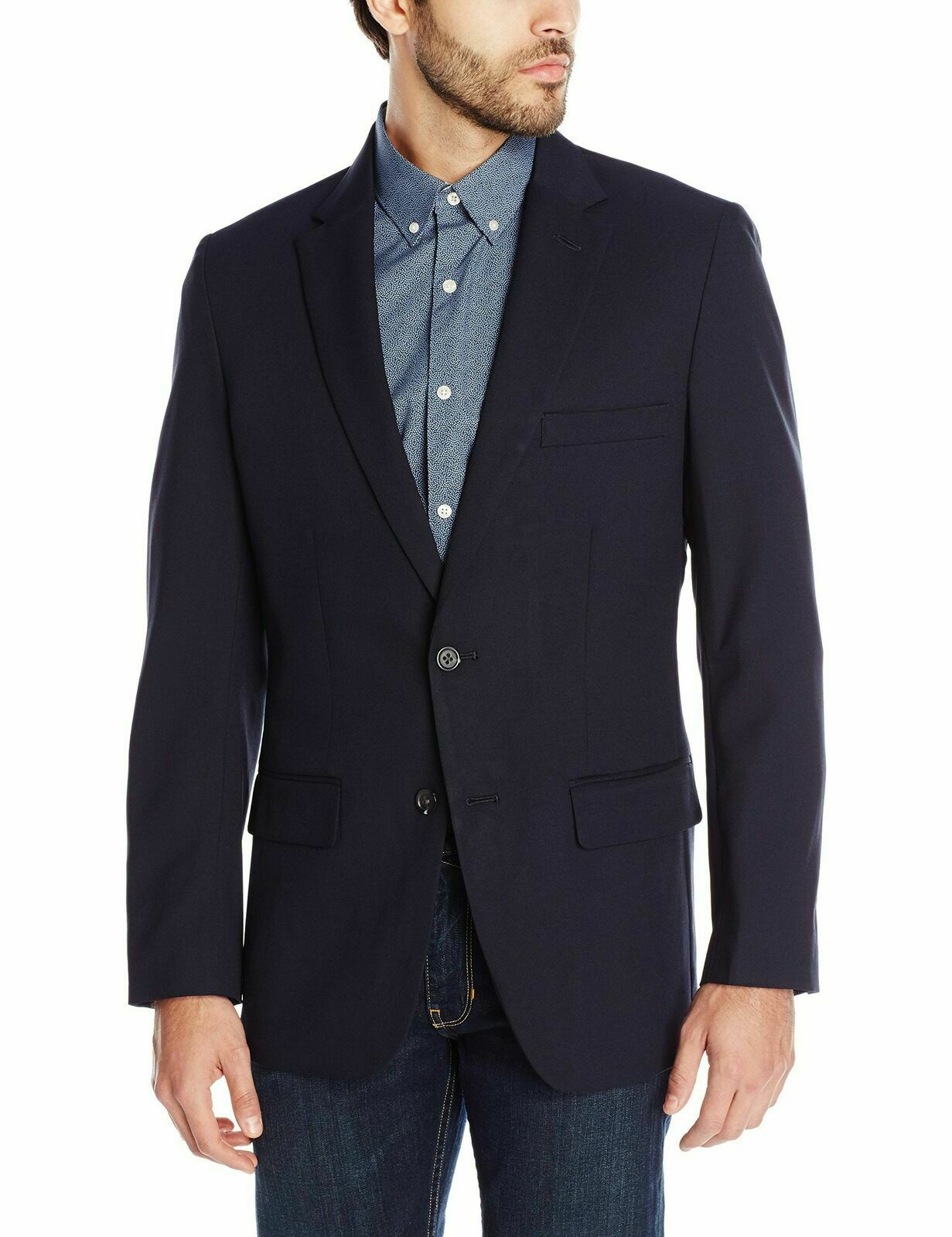 Haggar Men's Tailored Fit In Motion Blazer, 40 Long, Midnight bluee, HJ10337 Nwt
