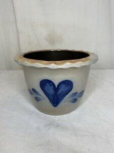 1990 Rowe Pottery Works Blue Heart Bowl Salt Glazed Hand Painted Stoneware