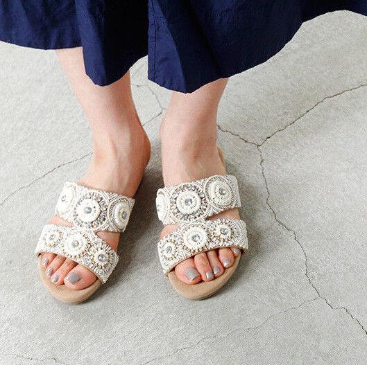 Anthropologie Ne Quittez Pas Leta Beaded Embellished Slide Sandals Size 38 New