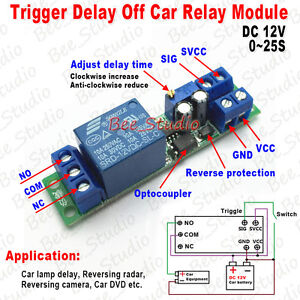 DC 12V Adjustable Signal Trigger Delay Turn Off Delay Timer Switch ...