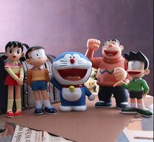 "Doraemon blue cat family pvc figures 8"" figure doll toy dolls set of 5pcs doll"