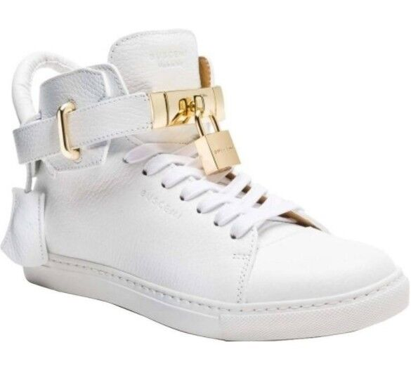 New men Buscemi 100MM white leather lock high top sneakers  890 sz 40/7-7.5