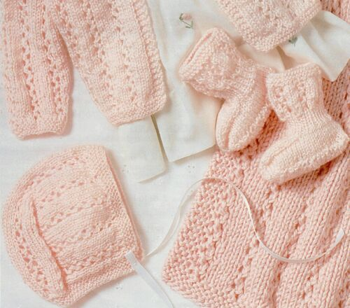 Knitting Pattern-Baby Layette upto 6 months Blanket// Cardigan//Hat//Booties P0328b