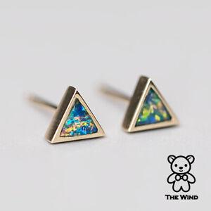 Details About Small Minimalist Triangle Australian Doublet Opal Stud Earrings 14k Yellow Gold