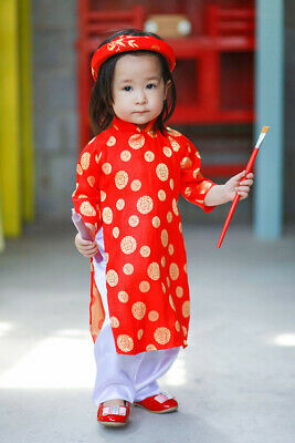 Set of Ao Dai Khan Dong For Kids Vietnamese Traditional Costumes