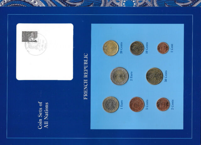 Coin Sets of All Nations France w/card EURO 1999-2001 UNC 1, 2 Euro 2001
