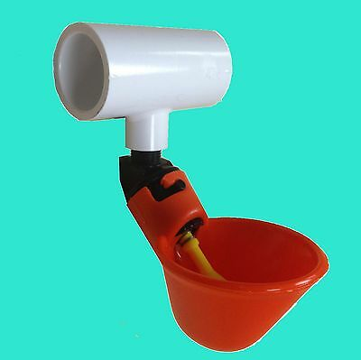 12 Poultry Water Drinking Cups + Tees Chicken Automatic Drinker Bracket PVC New